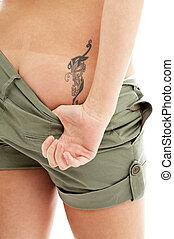 impressão, tatuagem,  panties