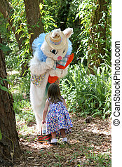 Easter Bunny and Child - The Easter Bunny having a...