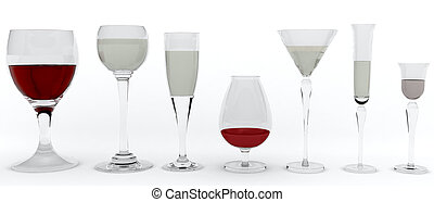 alcohol glasses - 7 glasses with red and white wine