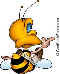 Sitting petite wasp - Little Bee 17 - High detailed and...