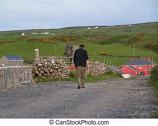 Irish farmworker - End of a days work. Irish farmworker...