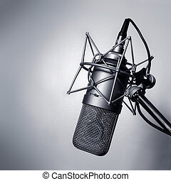 Studio microphone - Black and white image of a studio...