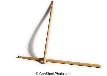 Drums sticks - Drum sticks, with shadow, one standing.