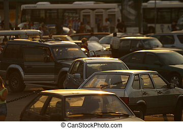 Traffic jam in Moscow in the summer