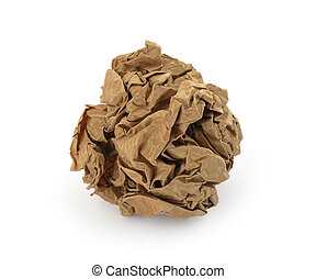 close-up of brown crumpled paper ball