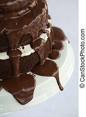 Cake Chocolate - Tiered Chocolate Cake with vanllia filling...