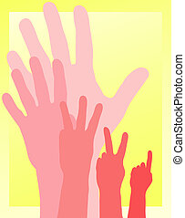 Countdown - Illustration of hands counting down from five to...