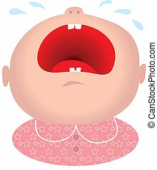 Cry Baby Girl - Baby girl crying with his mouth open wide