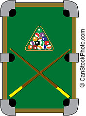 Pool Table - Pool table with a rack and fifteen balls
