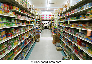 supermarket - an aisle in a supermarket, zoom motion to blur...