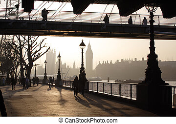 London mist - London quay in the fogy day against the sun...