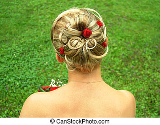 Bridal hair style - The special bridal hair style with red...