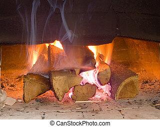 Fire wood burn in the furnace