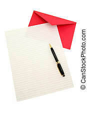 letter paper and red envelope, communication concept