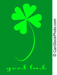 GOOD LUCK - Four leaf clover, version with text