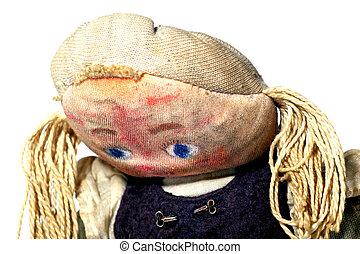 布, 悲しい, 古い, 人形