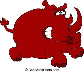 Red Rhino - This illustration depicts a comical, red...