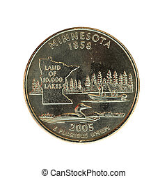Minnesota Quarter - A 2005 Minnesota quarter showing the...