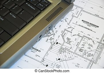 computer blueprints - Laptop computer and residential...