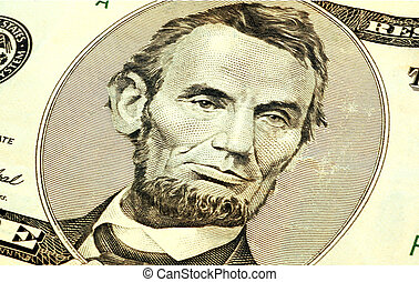 Abe - close up of abraham lincoln on the five dollar bill