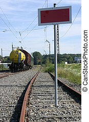 Closed railroad line - Railroad line with railroad cars and...