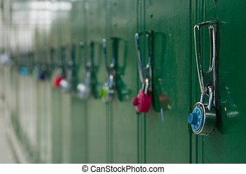 School Lockers - Closeup view of a lock on a school locker...