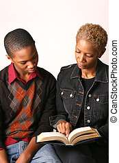 Mother and Son - Mother and teenage son review school...