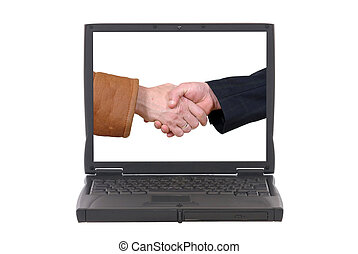 Laptop, online business deal - Laptop with handshake on...