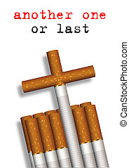Another one - Illustration of cigarettes composed to a grave