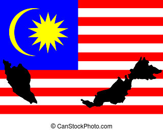 map of Malaysia and Malaysian flag illustration