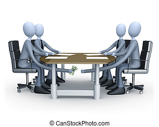 Deal Under The Table - 3d people making a deal under the...