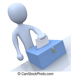 Voting - 3d character putting a vote into a ballot.