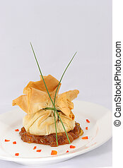 Scallops in a Pouch - Sauteed Scallopsa in a pouch atop a...