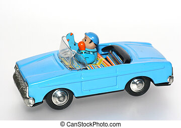 Tin toy car + driver - One of the many thousand toys my...
