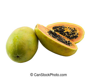 Papaya - Photo of a whole papaya and a sliced open papaya...