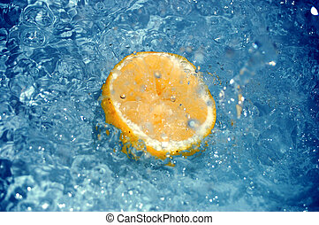 lemon in water #5 - lemon slice in blue water