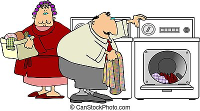 Laundry Day - This illustration depicts a man and woman...