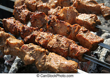 barbeque - meat prepare in camping, barbeque picnic