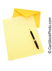 yellow letter paper and yellow envelope, communication...