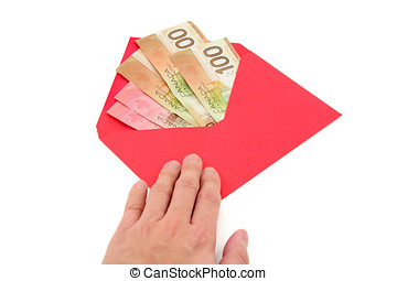canadian dollar and red envelope, business concept