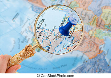 London map tack - magnifying glass over London, England map...
