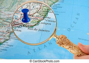 Rio de Janeiro map - magnifying glass over Rio de Janeiro,...