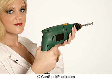 Lady Drill - A woman holding n drill in her hands