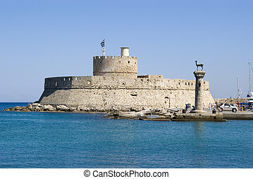Harbour gates and Lighthouse St Nicholas, Rhodes - Harbour...