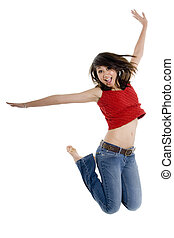 Jumping Girl - A young woman in red top and jeans jumping on...