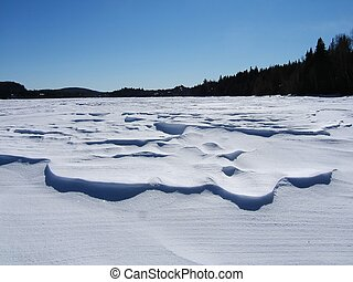 snow drifts - low snow drifts on the lake