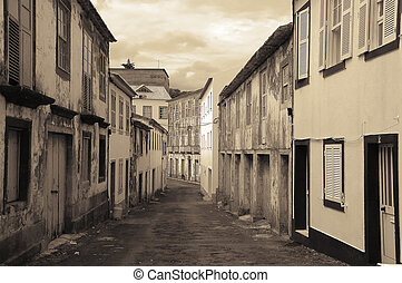Old street in the Azores