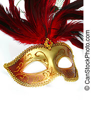 Feathered Fancy Dress Mask - Feathered Red and Gold Costume...