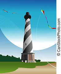 Lighthouse - Illustration of the Cape Hatteras Lighthouse...