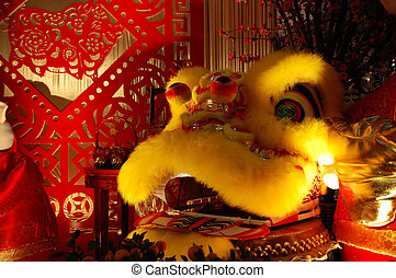 Chinese dragon and scissor cut artworks, celebration of...